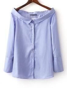 Bluse mit Boot Hals und Streifen - blau