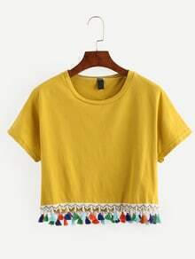 Yellow Tassel Trimmed Crop T-shirt