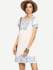 Vestido manga corta bordado holgado -blanco