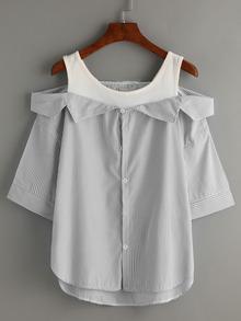 Grey Striped Fold Over Cold Shoulder Blouse