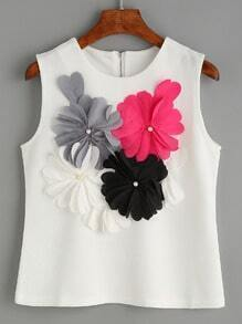 White Flower Applique Sleeveless Textured Top