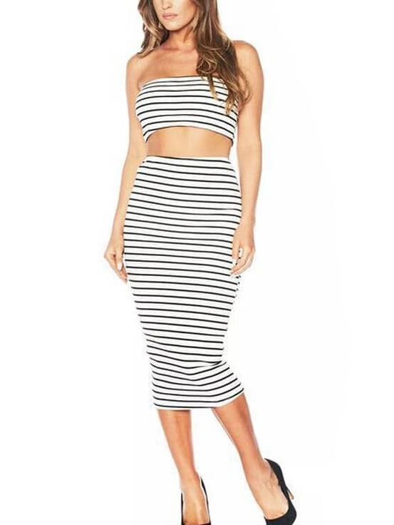 white striped crop bandeau top with pencil skirt