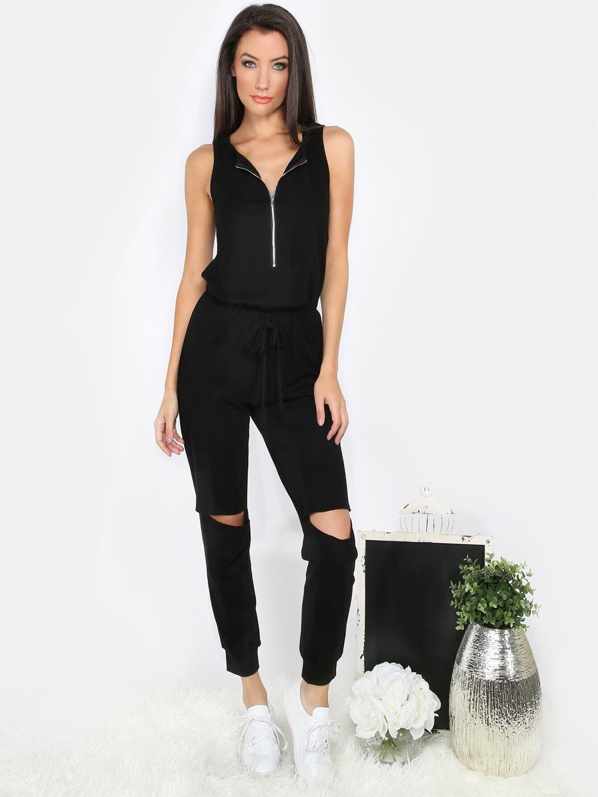 黑色 無袖 拉鏈 挖洞 連身服飾