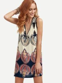 Multicolor Vintage Print Zip Front Shift Dress