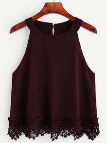 Burgundy Crochet Trim Chiffon Halter Neck Top
