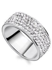Silver Rhinestone Encrusted Ring