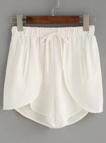 White Drawstring Waist Wrap Shorts