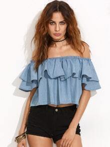 Blue Smock Off The Shoulder Ruffle Crop Blouse