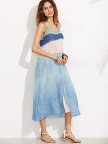 Blue V Neck Spaghetti Strap Split Maxi Dress