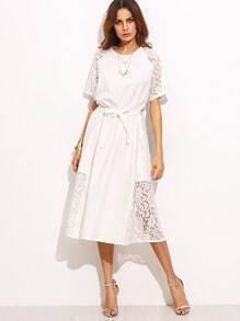 White Lace Slim Dress With Belt