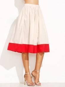 Jupe plissé élastique - beige et rouge