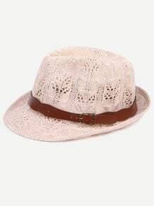 Beige Knitted Fedora Hat