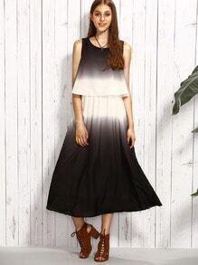 Vestido de gasa en capas sin mangas - multicolor