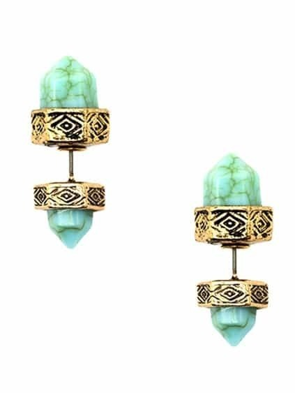 Silver Turquoise Dual Studs