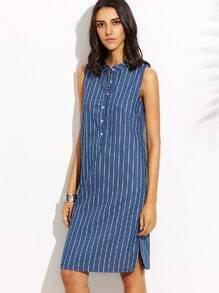 Blue Buttons Front Split Side Vertical Stripe Dress
