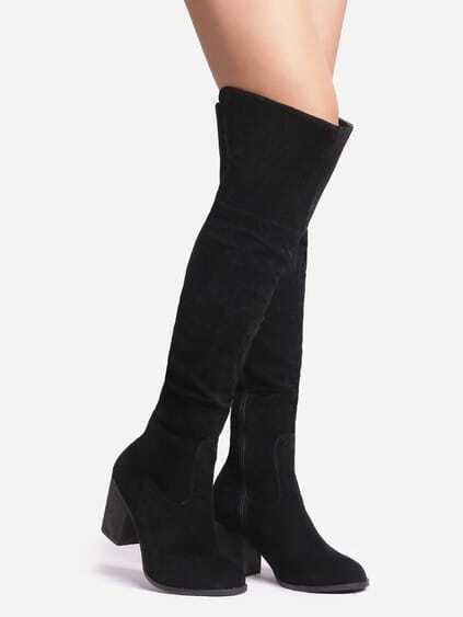 Black Suede Over The Knee Zipper Boots