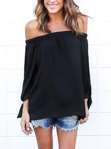 Black Off The Shoulder Split Tie Sleeve Blouse