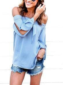 Blue Off The Shoulder Split Tie Sleeve Blouse