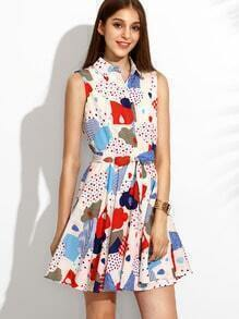 Multicolor Lapel Printed Dress With Belt