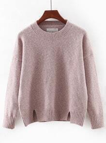 Pink Round Neck Split Knitwear