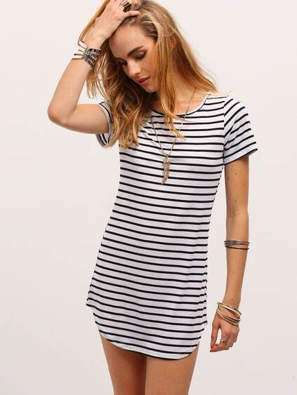 Black White Striped Curved Hem T-shirt Dress