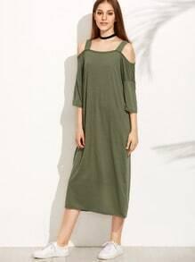 Vestido recto hombros al aire - verde