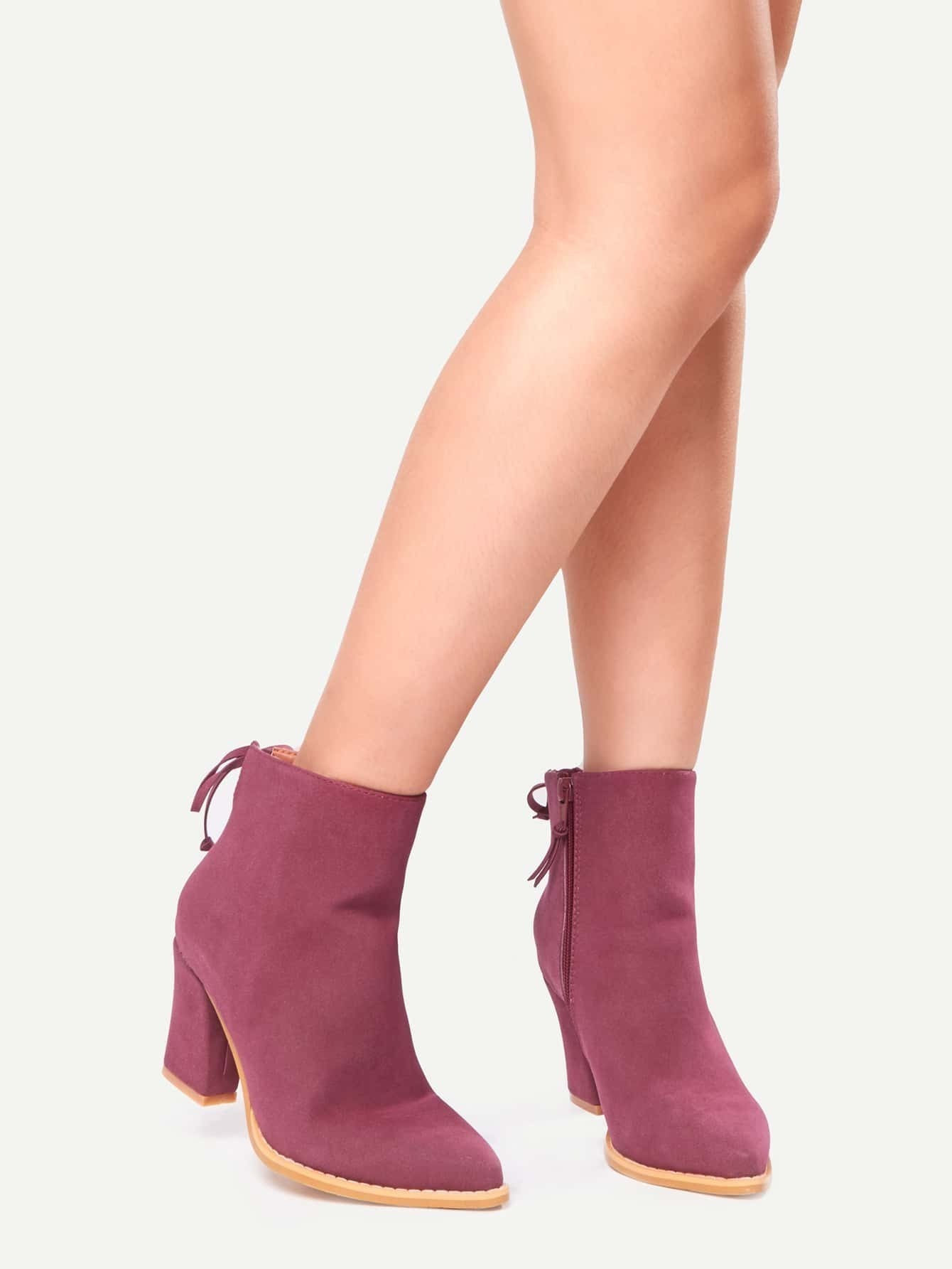 Burgundy Pointed Toe Side Zipper Lace Up Back Boots