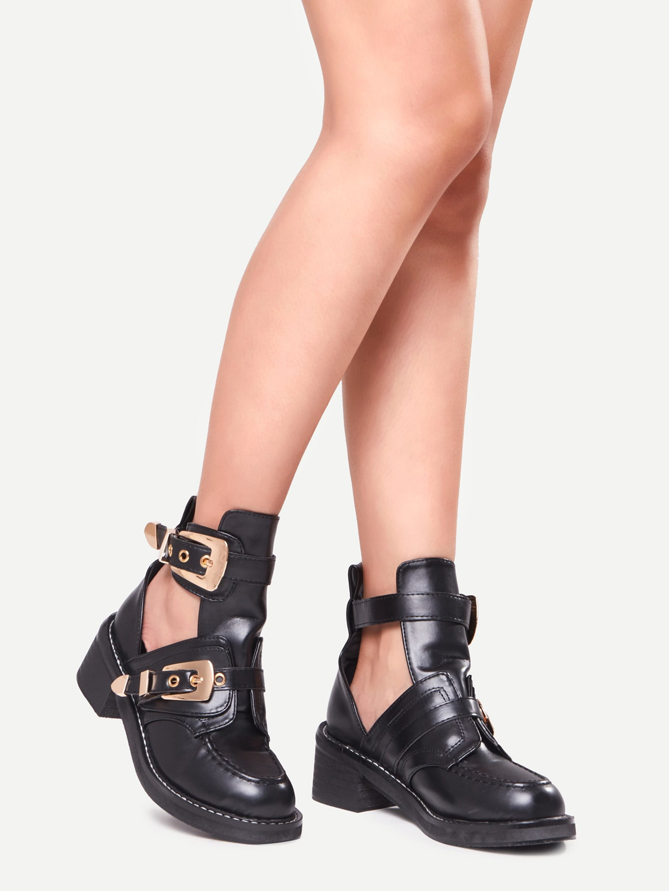 Black Faux Leather Buckle Strap Chunky Heel Shoes