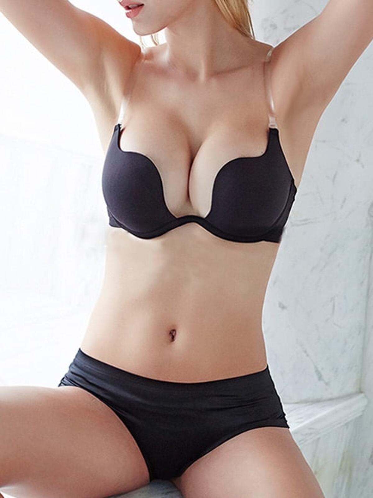 黑色 交錯 上托式 胸罩