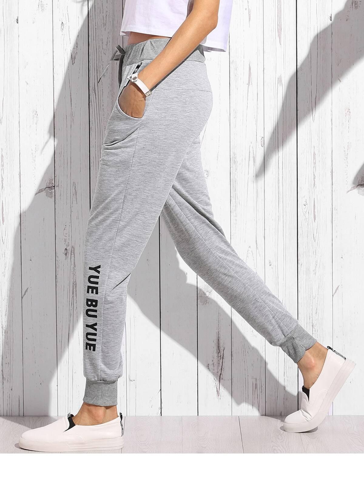灰色 混紡 針織 細長條 束帶 褲