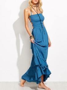 Vestido maxi plisado de tirantes elásticos espalda descubierta -azul