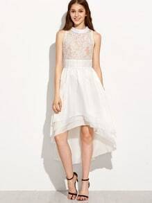 Lace Top Assymetrical Mock Neck Dress