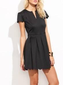 Black Scalloped Flare Dress