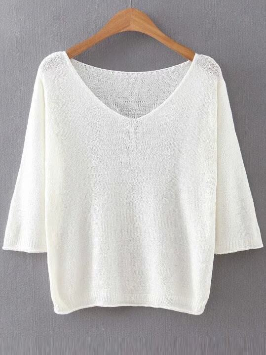 White V Neck Ribbed Trim Knitwear sweater160815206