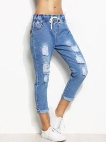 Jeans effet déchiré taille coulissée - bleu