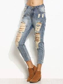 Blue Ripped Frayed Hem Ankle Jeans