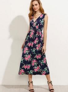 Falda larga con estampado floral - marino