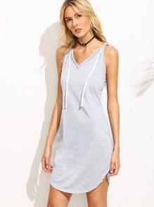Grey V Neck Hooded T-shirt Dress