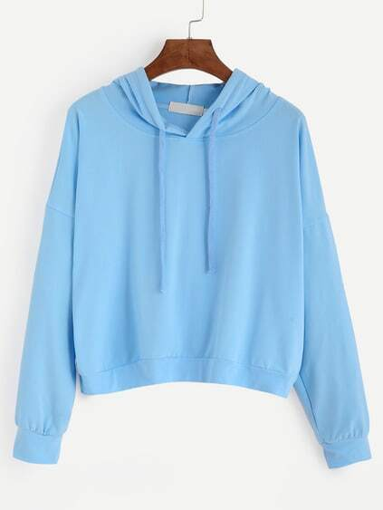 Blue Drop Shoulder Hooded Sweatshirt