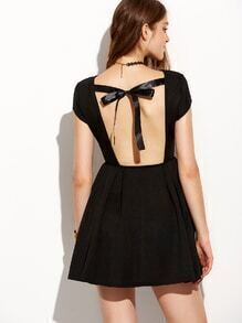 Black Tied Open Back Fit and Flare Dress