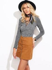 Lace-up Slim Knit Sweater