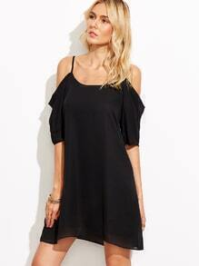 Cold Shoulder Black Chiffon Shift Dress