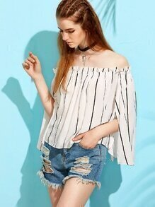 White Vertical Striped Bell Sleeve Off The Shoulder Top