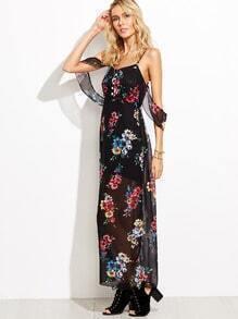 Cold Shoulder Flower Print Maxi Dress