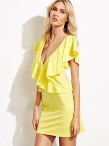 Yellow Deep V Neck Ruffle Dress