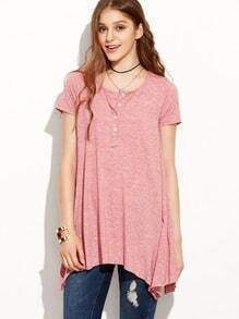 Asymmetric Swing Jersey T-shirt - Pink