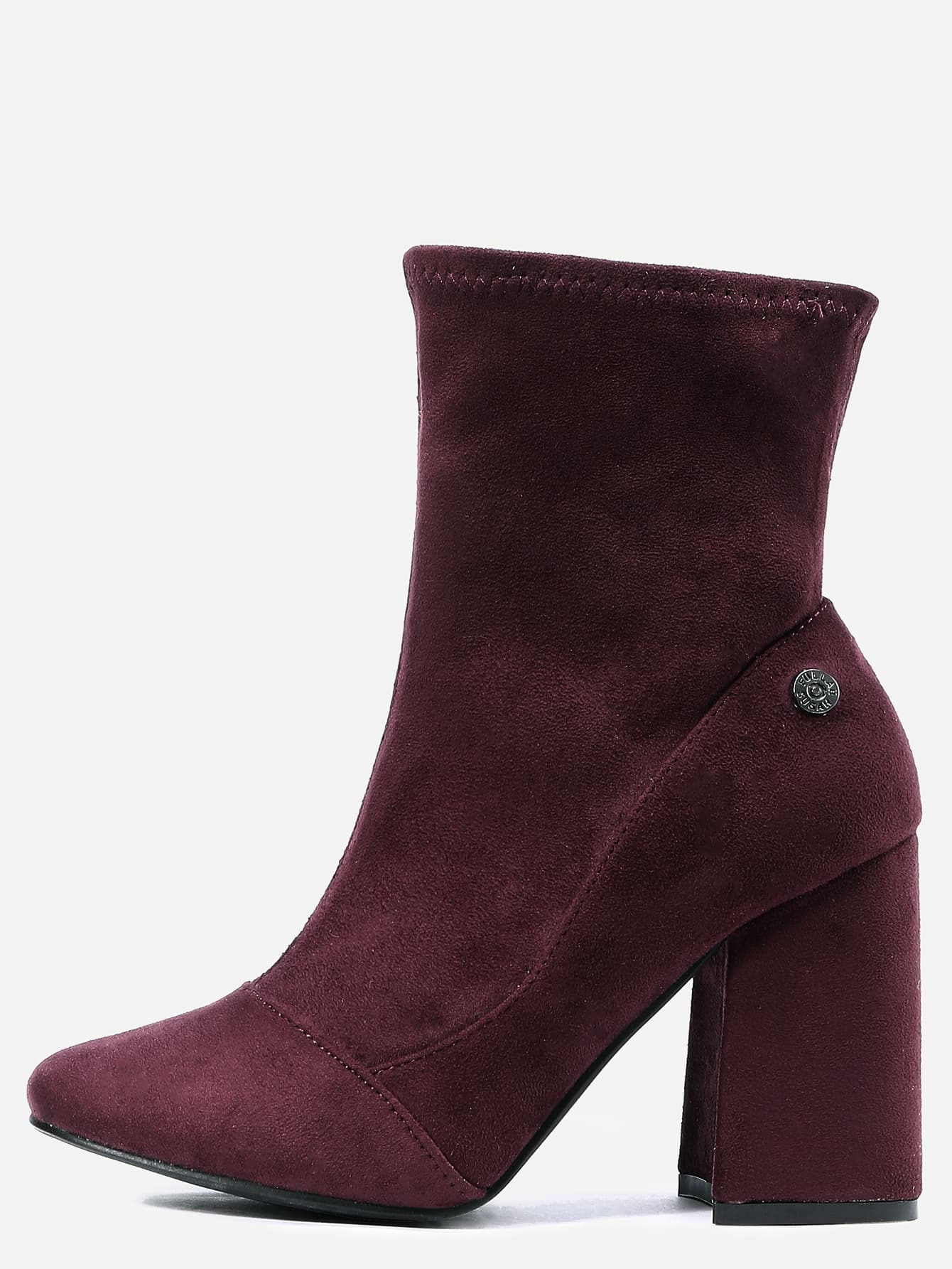 burgundy suede point toe high heel boots