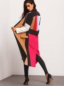 Multicolor Lapel Color Block Coat