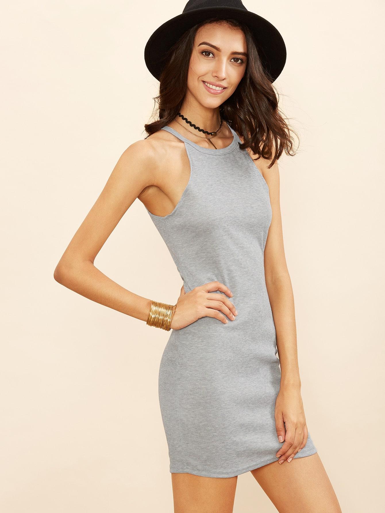 Grey Halter Neck Ribbed Bodycon Dress RDRE160712101