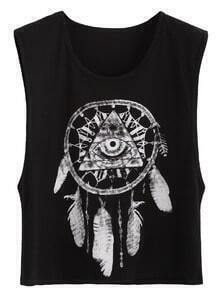 Black Sexy Tribal Print Sleeveless Top